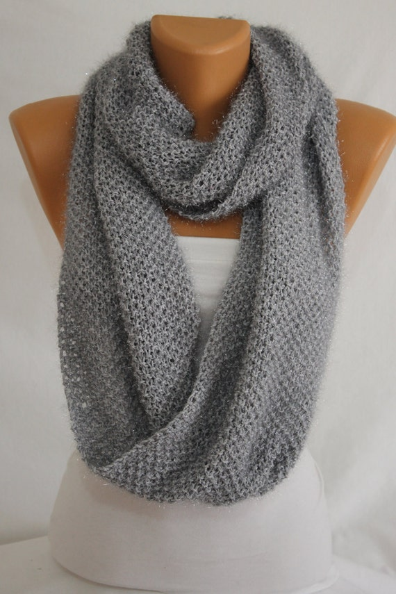 Hand Knit Gray Sparkly Infinity Scarf Fall Scarf Winter Scarf