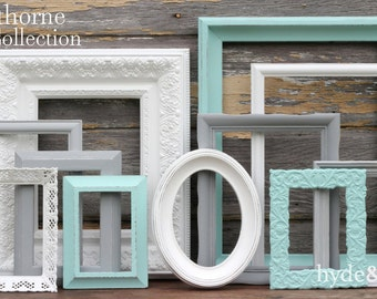 navy blue grey white picture frames upcycled distressed. Black Bedroom Furniture Sets. Home Design Ideas