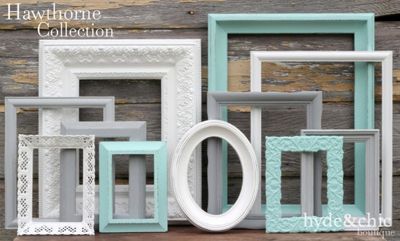 Shabby Chic Decor / Aqua, Grey and White Picture Frame Set / Nursery Decor / Gallery Wall Frame Set / Custom Order / Hawthorne Collection