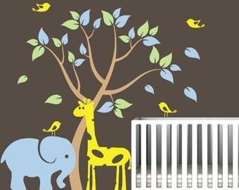 Tree Wall Decal with Elephant. Giraffe and Birds