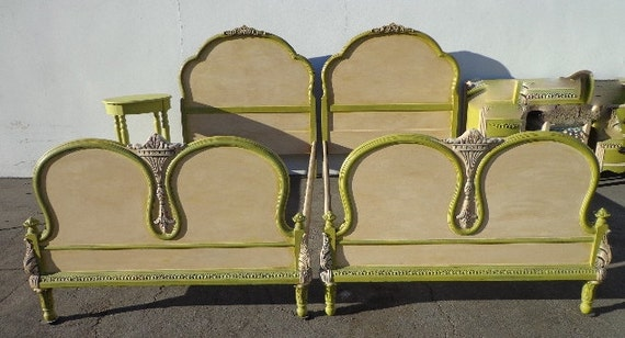 2 Twin Beds Antique Victorian Shabby Chic French Provincial