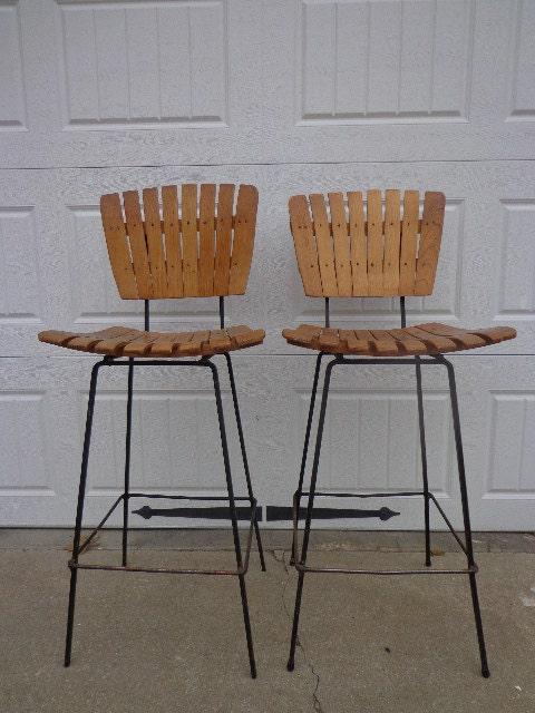 2 Arthur Umanoff Wood Slat Bar Stools Mcm Eames Vintage Steel