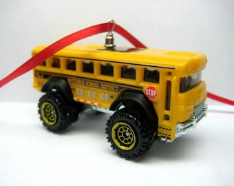 Yellow School Bus Transport Truck Car Christmas Tree Ornament