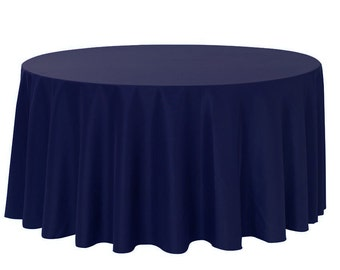 YCC Linen - 120 Inch Round Polyester Tablecloth Navy Blue | Wedding Tablecloths