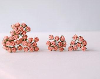 Paper flower , 50 pieces mulberry budding rose 0.5cm., pink vintage color.
