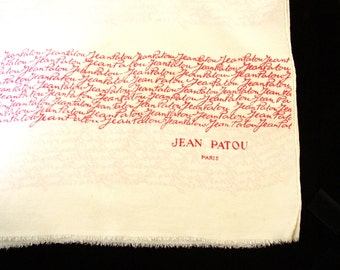 JEAN PATOU - Vintage French crepe de Chine scarf printed with name of designer Jean Patou