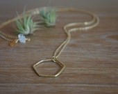 Minimalist hexagonal ring brass pendant on delicate long gold plated chain