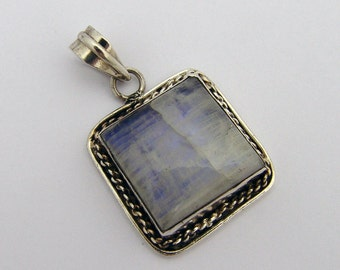 Square Moonstone Pendant Sterling Silver