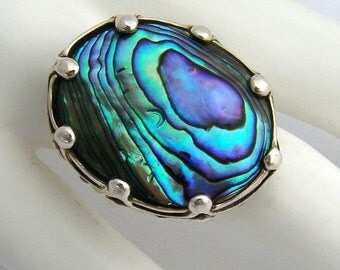 Large Abalone Shell Ring Sterling Silver