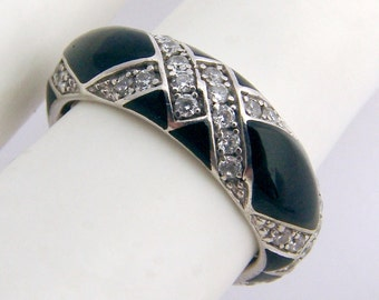Onyx Band Ring Sterling Silver