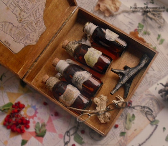 Medieval apothecary box   potions in the magic wooden chest   one of the kind   alchemy jars