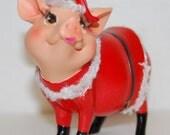 Santa Claus Piggy Figurine - Vintage