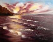 Romantic Ocean Beach Sunset Oil Painting