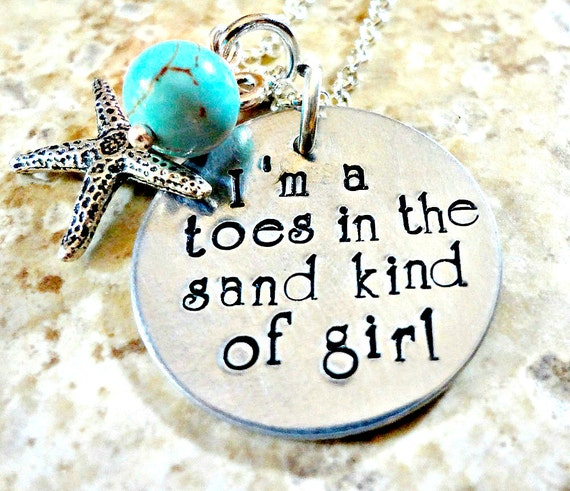 hand stamped beach necklace toes in the sand kind by