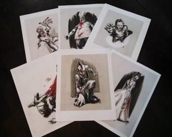 "CLEARANCE! 6 prints, 1 price! Zombie Print Pack (six  8.5"" x 11"" prints)"
