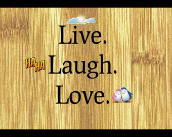 Sign Plaque {Live Laugh Love} inspirational quote gift rustic living room wall art home decor made in the USA