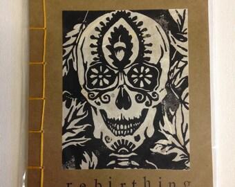 Skull,handmade book, Japanese style binding,Stab bound,sketchbook,journal,block printed,linocut,one of a kind,printmaking,dia de los muertos