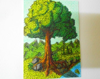 Original ACEO drawing- OOAK tree aceo art - ink and pencil artwork aceo card 'Listen to the tree'