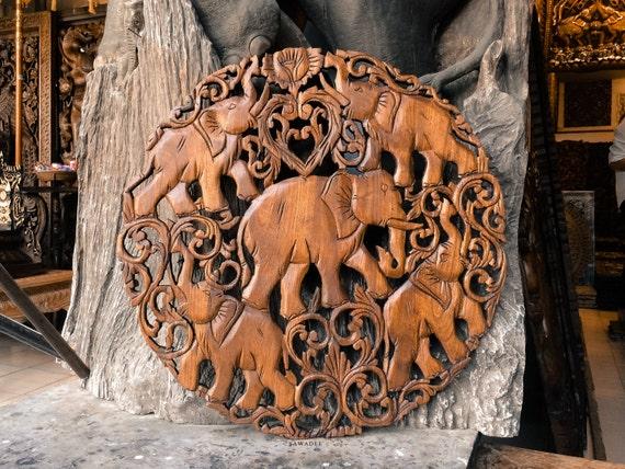 Feng shui elephants hand carved wood wall art by siamsawadee