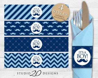 Instant Download Navy Mustache Napkin Rings, Printable Blue Moustache Baby Shower Napkin Wraparounds for Baby Boy 27B