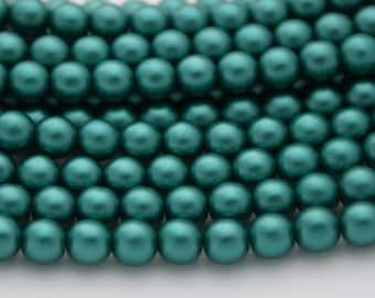 25 Czech Glass Pearl Beads in Teal - 6 mm