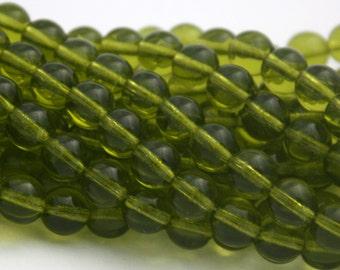 25 Czech Round Glass Beads in Olivine - 8 mm