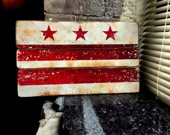 "Washington D.C. ""District"" Flag Distressed Barn Wood Art"