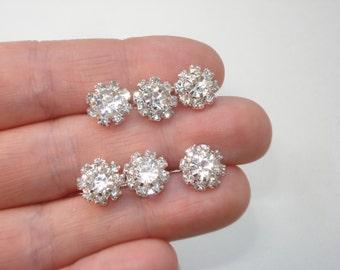 6 Silver Bridal Hair Pins - Crystal Flower Bobby Pin Jewellery - Wedding Bride Bun Pins