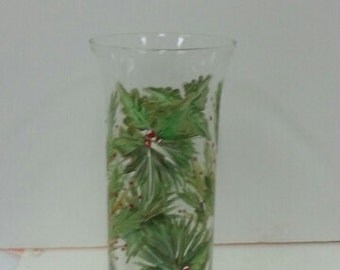 Hand-painted Christmas Vase or Candleholder
