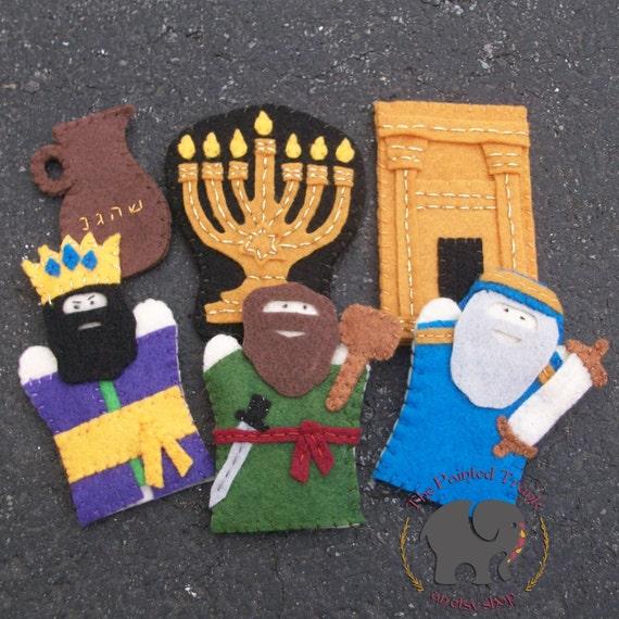 puppet stories for preschoolers hanukkah finger puppets set of 6 children s by thepaintedtrunk 563