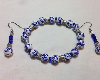 Painted Blue /White Porcelain Look Bracelet & Earring Set