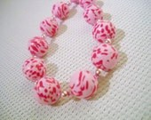 Pink bead necklace with handmade beads in polymer clay in pink, Beads necklace, polymer clay beads, polymer clay jewelry, pink clay beads