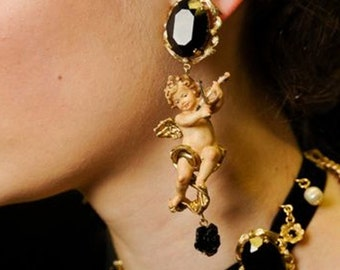 Italian Designer Couture Inspired - Baroque Dolce Cherub/Angels Playing Musical Instrument - Statement Earrings