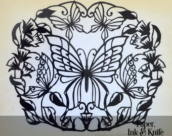Butterflies, Beginner to Intermediate papercut template. Includes PDF and SVG files.  Personal and Commercial use