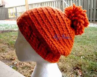 Crocheted Hat With Pom-Pom For Adults.