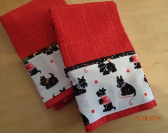 Christmas Scotties on Red Kitchen Towel Black Scotty design for the Holidays