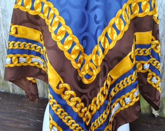 Vintage Renato Balestra silk jacquard large navy brown golden chains print  scarf