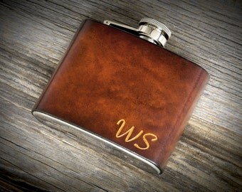 Personalized Italian Leather Flask. Hand Carved initials or name. 5/8oz stainless steel quality flask.