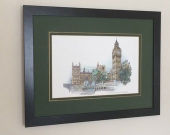 """Framed and Mounted Big Ben and Houses of Parliament London Landmark framed wall art - 16"""" x 12"""" -"""