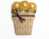 Happy Thanksgiving, Flower Pot Card, Yellow Flowers, Brown