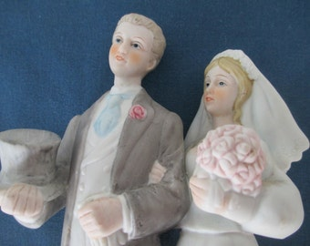Vintage Royal Crown Bride And Groom Bisque Figurine Marked Wedding Decor Cake Topper Gifts