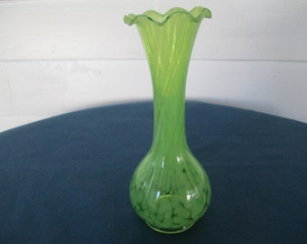 Vintage Green Splatter Art Glass Vase With Ruffled Top Marked Home Decor Collectible Glass Bud Vases