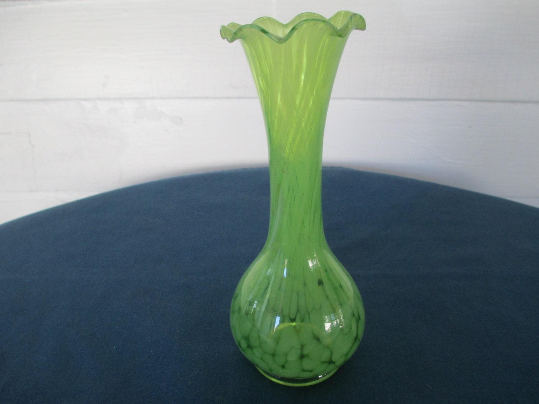 Vintage Green Splatter Art Glass Vase With Ruffled Top Marked Ruffled Glass Vase