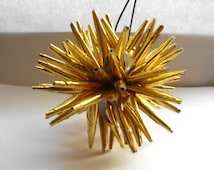 Gold Star Ornament, Sea Urchin, Polish Star, Christmas Star, Ornament, Holiday Decoration, HangingStar, Gold Star,  Porcupine