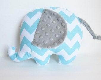 Aqua Chevron and Silver Minky Dot Stuffed Elephant Baby Toy Pillow, Nursery Pillow Decor, Photography Prop