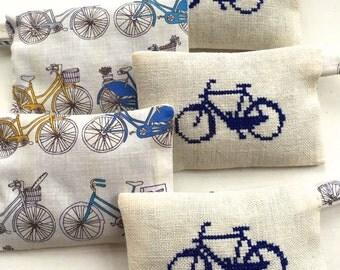 Dutch Bike Bicycle Holland Amsterdam Lavender Sachet  Souvenir Liberty of London Fabric Handmade Cross Stitch Embroidery