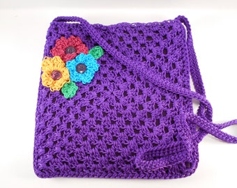 Purple Nylon Crochet Lined Cross Body Purse with Pink, Yellow, and Blue flowers