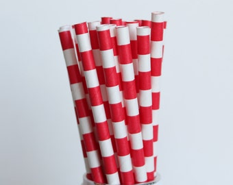 Red Rugby Horizontal Striped Paper Straws-Striped Straws-Red Straws-Valentines Day Straws-Wedding Straws-Shower Straws-Party Straws