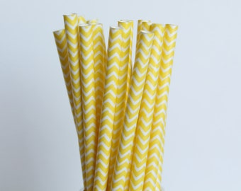 Yellow Chevron Paper Straws-Yellow Straws-Chevron Straws-Zigzag Straws-Wedding Straws-Party Straws-Mason Jar Straws-Cake Pop Sticks