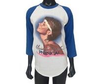 "Vintage 80s RARE Olivia Newton-John ""PHYSICAL"" North American Tour Baseball Style T-Shirt"